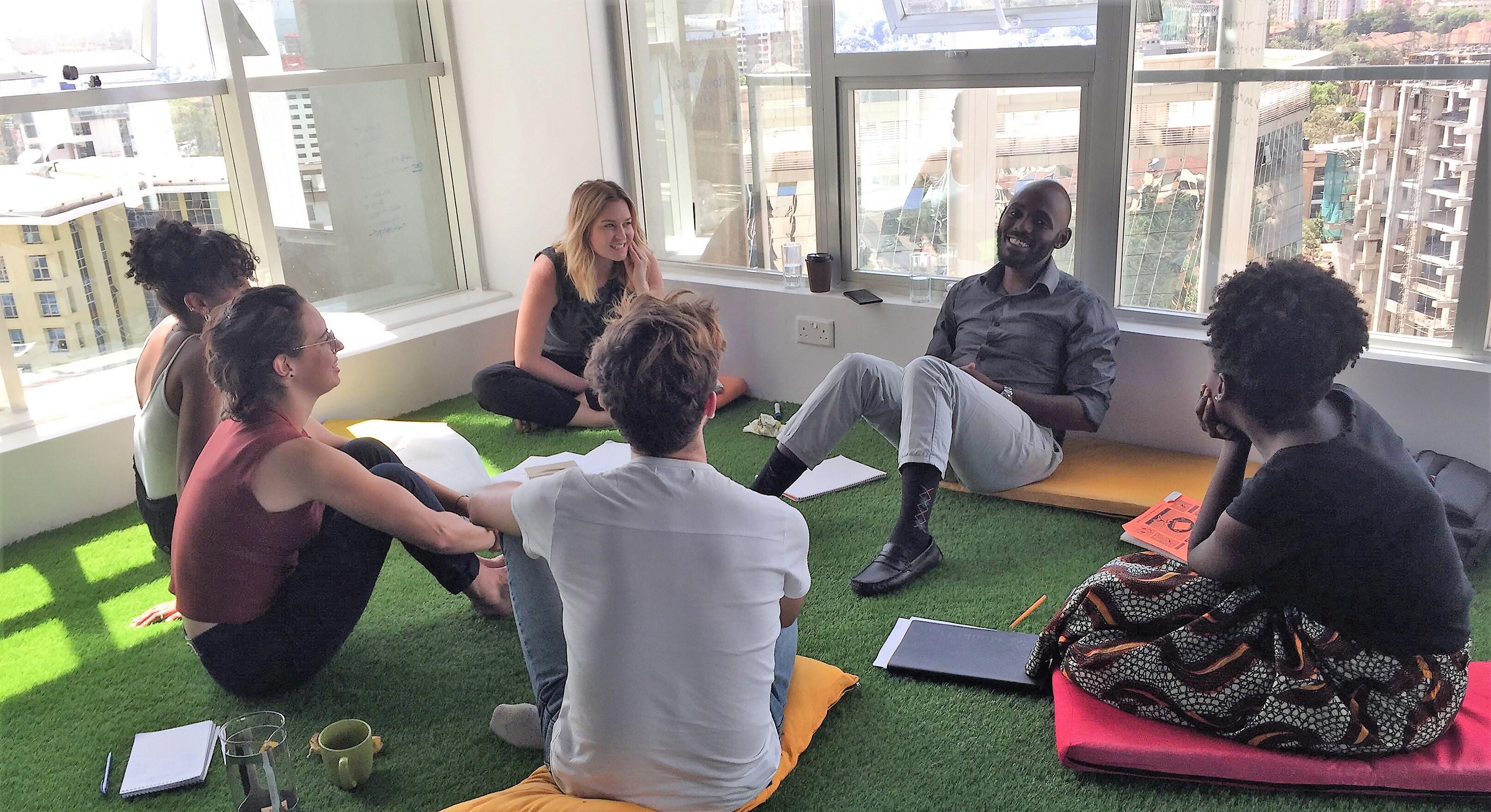 ThinkPlace Kenya staff take Swahili lessons in the Nairobi design studio