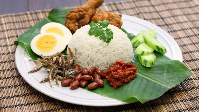 Nasi Lemak is a popular Singaporean dish