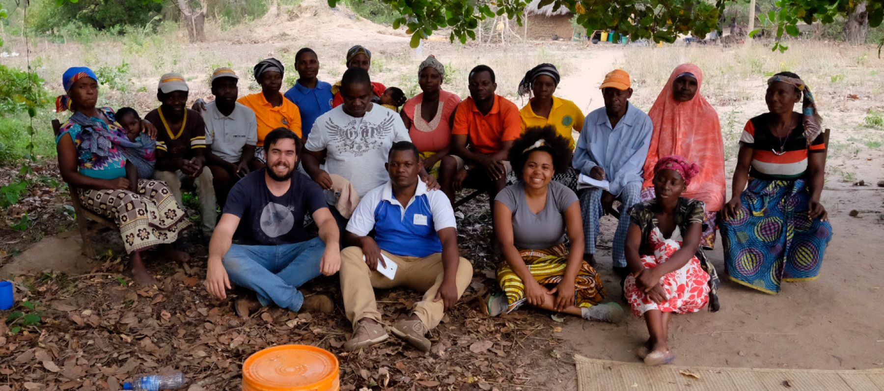 Eliot Duffy from ThinkPlace with the local community in Africa