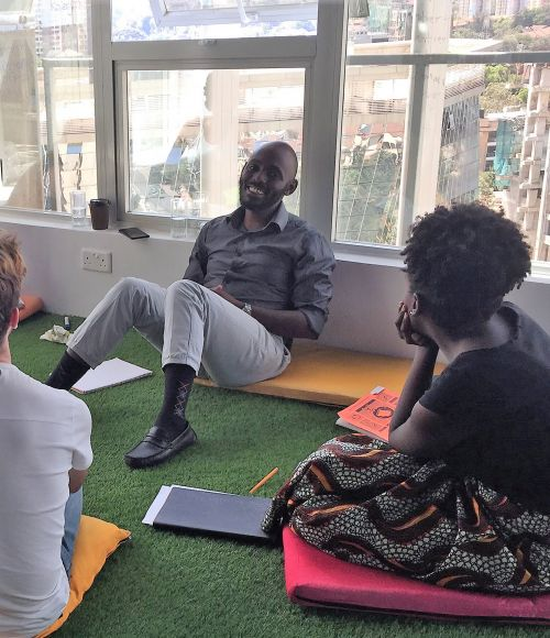 ThinkPlace Kenya staff take Swahili lessons in the Nairobi design studio